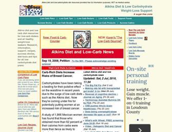 Main page screenshot of lowcarber.org