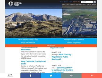 Main page screenshot of sierraclub.org