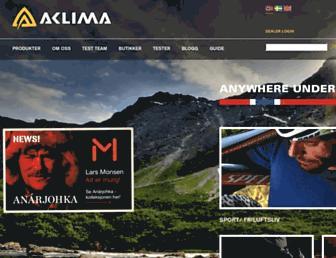 Main page screenshot of aclima.no