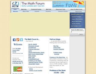 Main page screenshot of mathforum.org