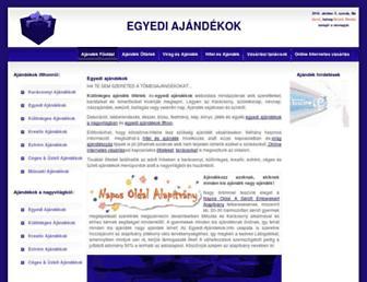 Main page screenshot of egyedi-ajandekok.info