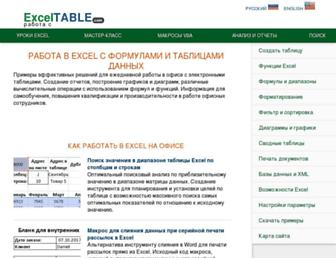 exceltable.com screenshot