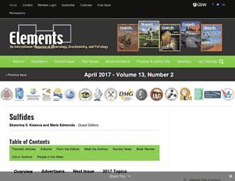 Main page screenshot of elementsmagazine.org