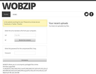 Main page screenshot of wobzip.org