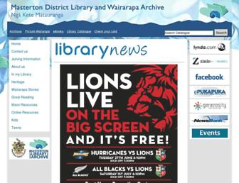 Main page screenshot of library.mstn.govt.nz