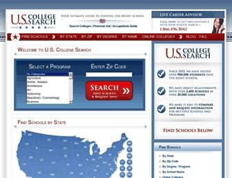 Main page screenshot of uscollegesearch.org