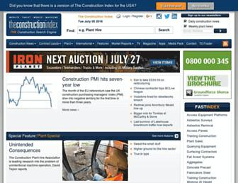 Main page screenshot of theconstructionindex.co.uk