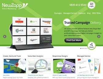 Main page screenshot of newzapp.co.uk