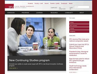 Main page screenshot of sfu.ca