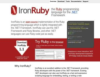 Main page screenshot of ironruby.net