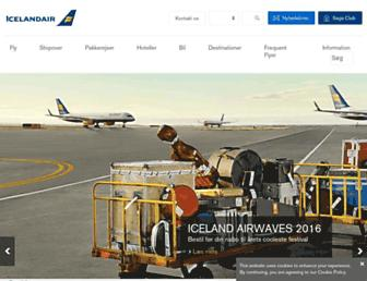 Main page screenshot of icelandair.dk