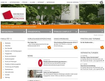 Main page screenshot of sw.hm.edu