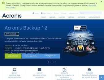 Main page screenshot of acronis.it
