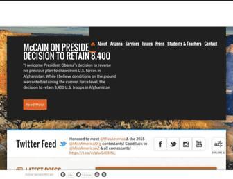 Main page screenshot of mccain.senate.gov