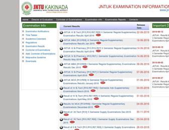 jntukresults.edu.in screenshot