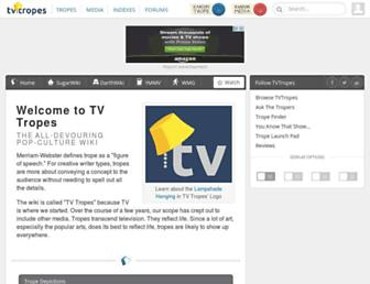 Main page screenshot of tvtropes.org