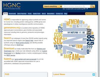 Main page screenshot of genenames.org