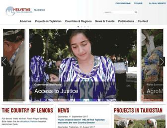 Main page screenshot of helvetas.tj