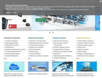 Main page screenshot of advantech.be