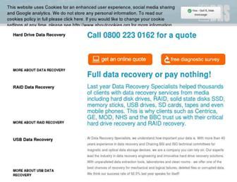 datarecoveryspecialists.co.uk screenshot