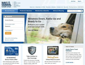 Main page screenshot of navyfederal.org
