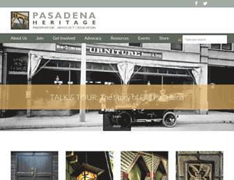 Main page screenshot of pasadenaheritage.org