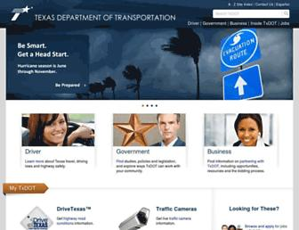 Main page screenshot of txdot.gov