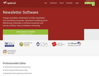 Main page screenshot of rapidmail.de