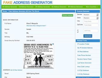 fakeaddressgenerator.com screenshot