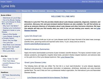 Main page screenshot of lymeinfo.net