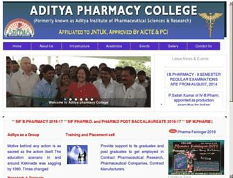 adityapharmacy.edu.in screenshot