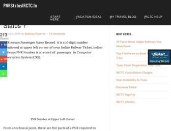 pnrstatusirctc.in screenshot
