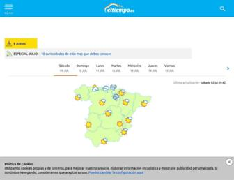 Main page screenshot of eltiempo.es