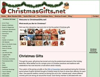 Main page screenshot of christmasgifts.net