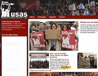 Main page screenshot of usas.org