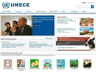 Main page screenshot of unece.org