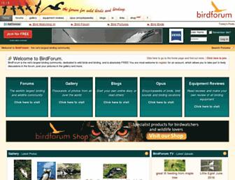 Main page screenshot of birdforum.net