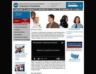 Main page screenshot of employeeorientation.nasa.gov