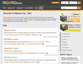 Main page screenshot of talk.maemo.org