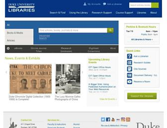 Main page screenshot of library.duke.edu