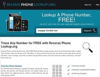 Main page screenshot of reversephonelookup.org