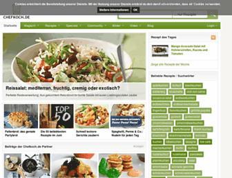 Main page screenshot of chefkoch.de