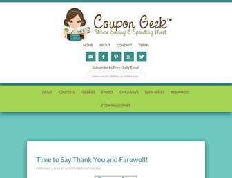 Main page screenshot of coupongeek.net