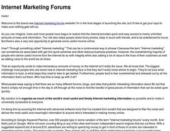 Main page screenshot of internetmarketingforums.net