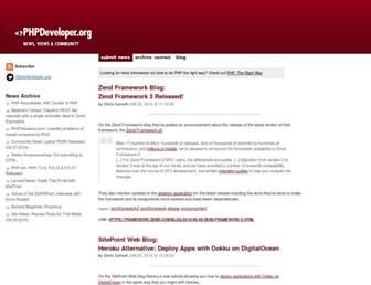 Main page screenshot of phpdeveloper.org