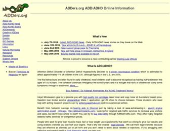 Main page screenshot of adders.org