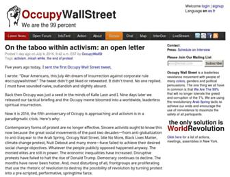Main page screenshot of occupywallst.org
