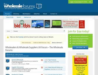 Main page screenshot of thewholesaleforums.co.uk
