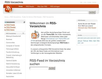 Main page screenshot of rss-verzeichnis.de