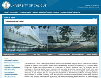 universityofcalicut.info screenshot